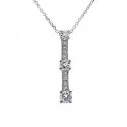 0.85 Carat Round Diamond Journey Pendant on Cable Link Chain 14k White Gold