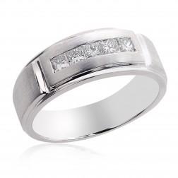 0.70 Carat Mens Princess Cut Diamond Wedding Band 14k White Gold
