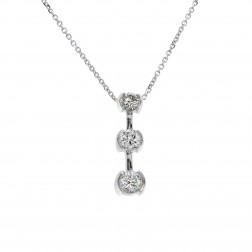 0.90 Carat Round Diamond Three Stone Journey Pendant on Cable Chain 14K White Gold