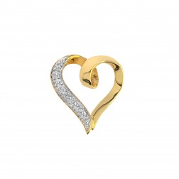 0.05 Carat Round Cut Diamond Ribbon Heart Pendant 10K Yellow Gold
