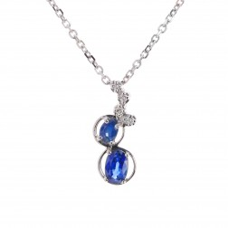 0.80 Carat Oval Shape Sapphire Round Diamond Pendant Cable Link Chain 14K White Gold