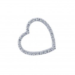 0.30 Carat Round Brilliant Cut Diamond Heart Pendant 14K White Gold