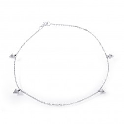 14K White Gold CZ Trillion Dangle Ankle Bracelet