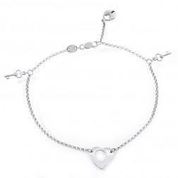 14k White Gold Key & Padlock Heart Charm Bracelet
