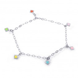 14K White Gold Enamel Colored Hearts Anchor Link Ankle Bracelet
