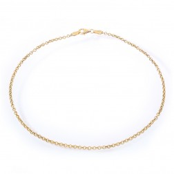 14K Yellow Gold Rolo Link Ankle Bracelet