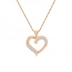 0.50 Carat Baguette Cut Diamond Heart Pendant Necklace 14K Yellow Gold