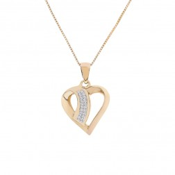 0.20 Carat Pavé Round Diamond 14K Heart Pendant on 10K Yellow Gold Box Chain