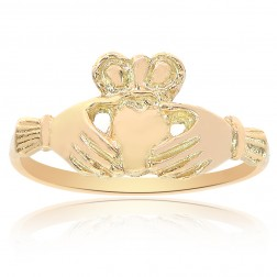 14K Yellow Gold Irish Claddagh Ring Size 7