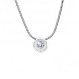 0.50 Carat Round Cut Diamond Bezel Pendant on Snake Chain 14K White Gold