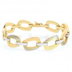 14.8mm 14K Two Tone Gold Diamond Cut Anchor Link Bracelet