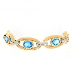 12.4mm 14K Two Tone Gold Oval Cut Blue Topaz Anchor Link Bracelet Italy