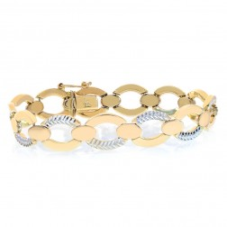11.5mm 14K Two Tone Gold Diamond Cut Oval Link Bracelet