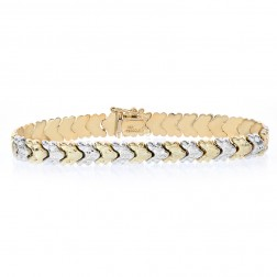 7.9mm 14K Two Tone Gold Fancy Link Diamond Cut Bracelet
