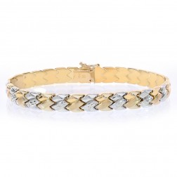 7.6mm 14K Two Tone Gold Fancy Link Diamond Cut Bracelet