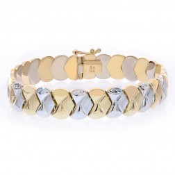 11mm 14K Two Tone Gold Fancy Link Diamond Cut Bracelet