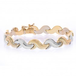 8.8mm 14K Two Tone Gold Fancy Wave Link Bracelet