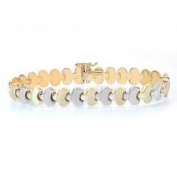 8.8mm 14K Two Tone Gold Fancy Link Bracelet
