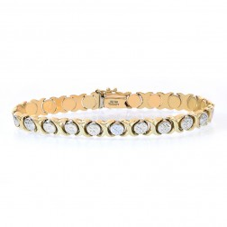 7.0mm Ladies 14K Yellow Gold Diamond Cut Hugs and Kisses Bracelet