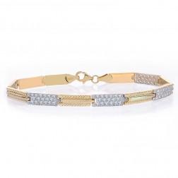 5.2mm 14K Yellow Gold Pave Set CZ Link Bracelet