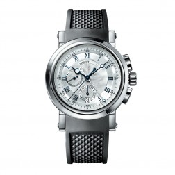 Breguet Marine 18K White Gold Chronograph Watch on Rubber Strap 5827BB/12/5ZU