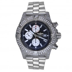 Breitling Super Avenger Stainless Steel Chronograph Watch 7 Carat Diamonds A13370