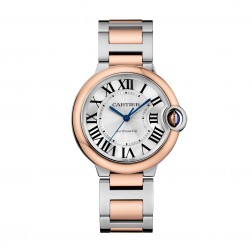 Cartier Ballon Bleu de Cartier 18K Rose Gold & Steel 36mm Watch Silver Dial W2BB0003