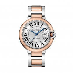 Cartier Ballon Bleu de Cartier 18K Rose Gold & Steel 42mm Watch Silver Dial W2BB0004