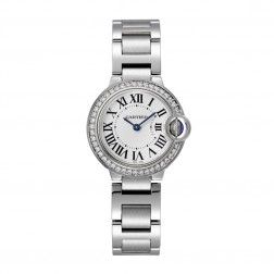 Cartier Ballon Bleu de Cartier Stainless Steel 28mm Watch Diamond Bezel W4BB0015