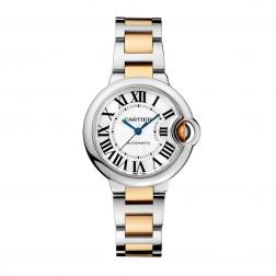 Cartier Ballon Bleu de Cartier 18K Yellow Gold & Steel 33mm Watch Silver Dial W2BB0002
