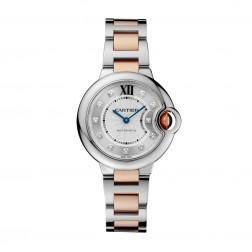 Cartier Ballon Bleu de Cartier Steel & 18K Rose Gold 33mm Watch Diamond Dial WE902061