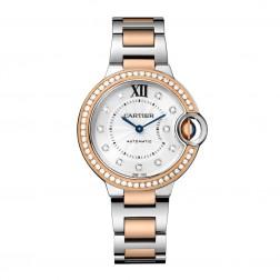 Cartier Ballon Bleu de Cartier Steel & 18K Rose Gold Watch Diamond Dial/Bezel WE902077