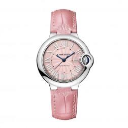Cartier Ballon Bleu de Cartier Stainless Steel 33mm Watch Pink Dial & Strap WSBB0002