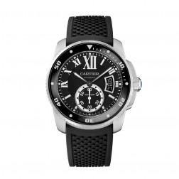 Cartier Calibre de Cartier Stainless Steel Watch Black Dial W7100056