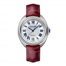Cartier Clé de Cartier Stainless Steel Ladies 35mm Watch Leather Strap WSCL0017