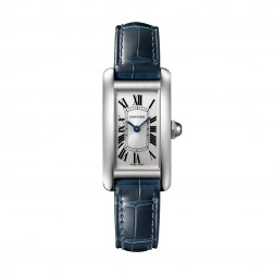 Cartier Tank Américaine Stainless Steel Ladies Watch on Blue Leather Strap WSTA0016