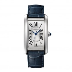 Cartier Tank Américaine Stainless Steel Watch on Blue Leather Strap WSTA0018