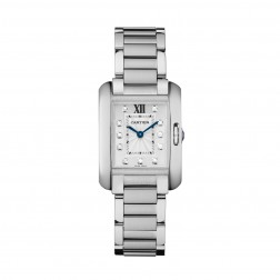 Cartier Tank Anglaise Stainless Steel Ladies Small Watch Diamond Dial W4TA0003
