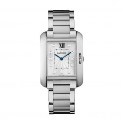 Cartier Tank Anglaise Stainless Steel Ladies Medium Watch Diamond Dial W4TA0004