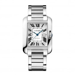 Cartier Tank Anglaise Stainless Steel Large Size Watch on Bracelet W5310009