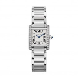 Cartier Tank Française Stainless Steel Ladies Small Watch Diamond Bezel W4TA0008
