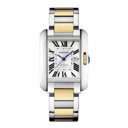 Cartier Tank Anglaise Steel & 18K Yellow Gold Large Size Watch on Bracelet W5310047