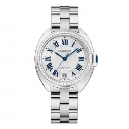 Cartier Clé de Cartier 18K White Gold Ladies Watch Diamond Bezel on Bracelet WJCL0007