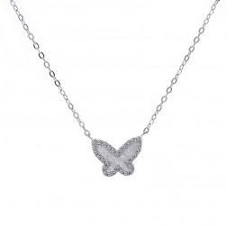 0.25 Carat Look Cubic Zirconia Butterfly Pendant in Sterling Silver on Cable Link Chain