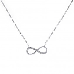 0.10 Carat Look Cubic Zirconia Infinity Pendant in Sterling Silver on Chain