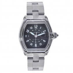 Cartier Roadster Stainless Steel Mid-Size Watch Black Dial W62025V3