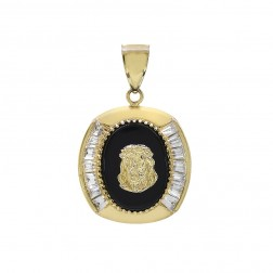 Christ Head Medallion Pendant Black Onyx & Zircon 10K Yellow Gold