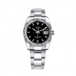 Rolex Oyster Perpetual Date 34 Steel & 18K White Gold Watch Black Index Dial 115234