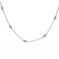 0.90 Carat Round Diamonds By The Yard Necklace In 14K White Gold