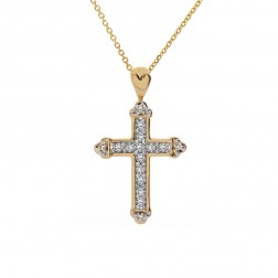 0.50 Carat Pavé Round Diamond Coptic Cross Pendant 14K Yellow Gold